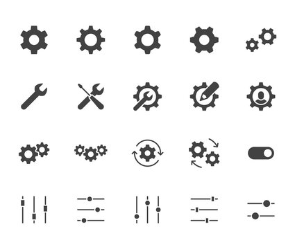 Gear, cogwheel flat icons set. App settings button, slider, wrench tool, fix concept minimal silhouette vector illustrations. Simple black glyph signs for web interface