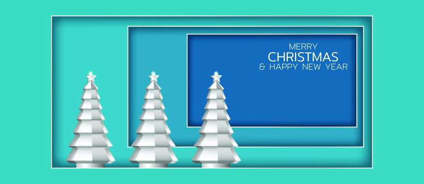 Festive composition with silver christmas trees. Merry Christmas and Happy New Year illustration. Winter holiday vector illustration. Paper cut style.