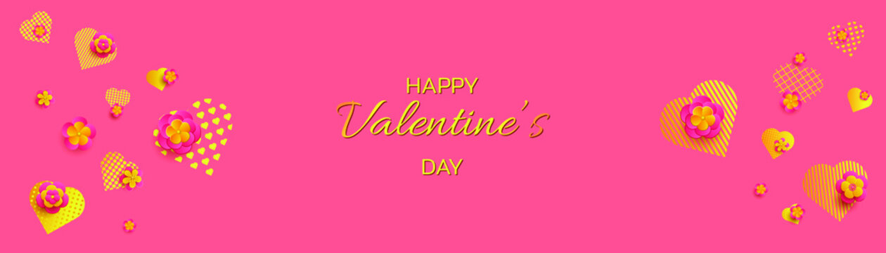 Valentine's Day background. Golden hearts and pink flowers. Vector illustration EPS10