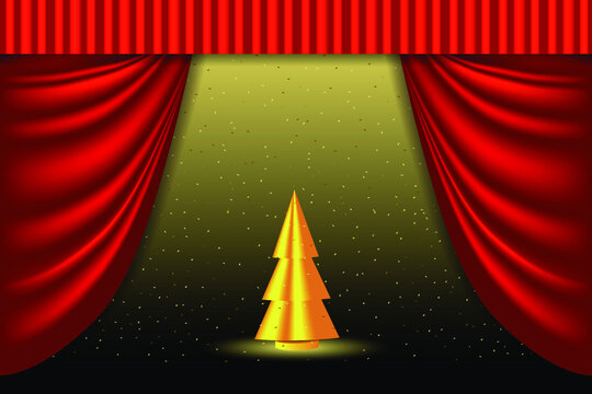 Merry Christmas and Happy New Year illustration. Golden Christmas Tree on the theater stage