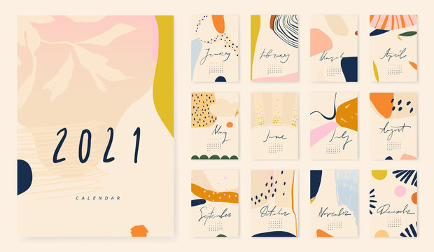2021 Trendy modern collage calendar design. Cute hand drawn abstract illustrations.