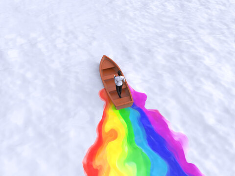 businesswoman sailing in a boat draws a rainbow plume on the water