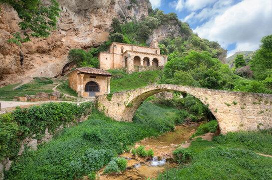Tobera, Spain. Ancient roman bridge and chapel Ermita de Santa Maria de la Hoz