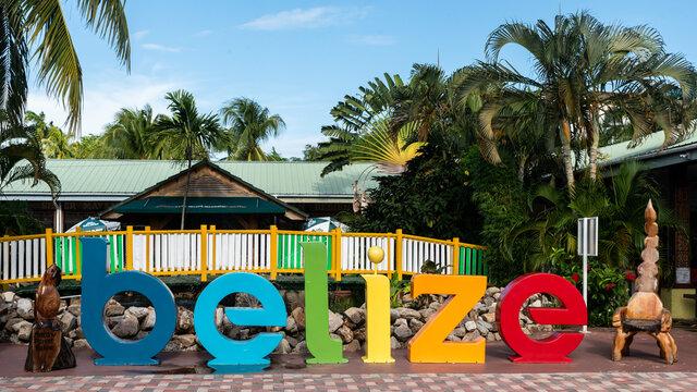 Schriftzug Belize Karibik Mittelamerika