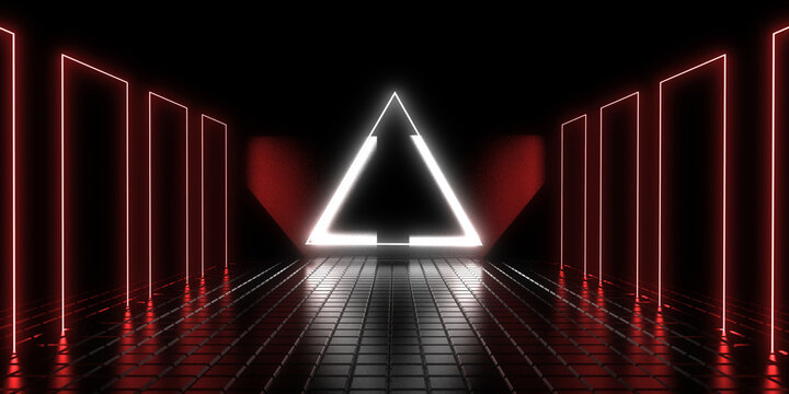 3D abstract background with neon lights.. 3d illustration