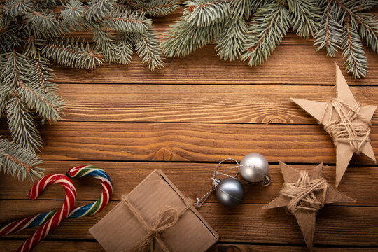 Christmas Tree and decorations on wooden background copy space f