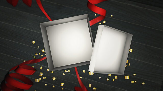 An open present box. An empty 3D rendering template to add your own products or text