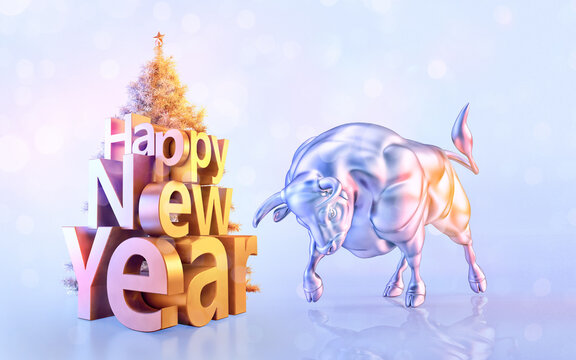 White metal bull, Christmas tree, Happy New Year 3D lettering illustration. Traditional lunar horoscope symbol of 2021 year. New year of the ox sign and christmas greeting card, banner design template