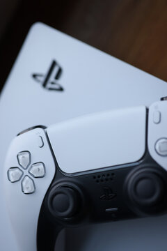 White sonyplaysation 5 gamepad closeup background