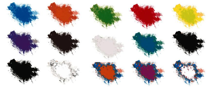 Bunte Farbe Splash isoliert auf weißen Hintergrund