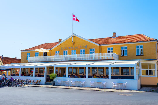 Dragor. Denmark. 24 July. 2019. Beautiful cafe in the coastal zone. Attractions.