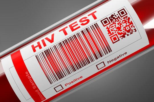 HIV Blood check Test tube 3D Illustration