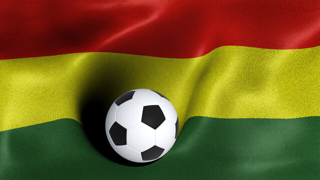 3D rendering of the flag of Bolivia with a soccer ball