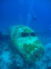 underwater ship wreck plane , scuba diver , Aruba Island