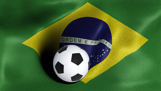3D rendering of the flag of Brazil with a soccer ball