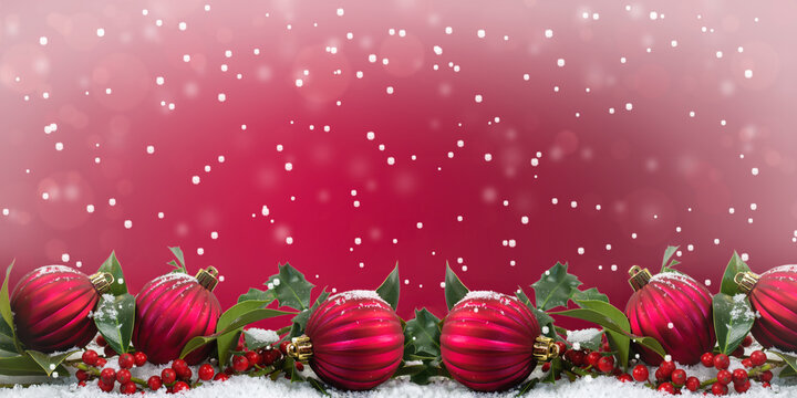 Red Christmas baubles festive winter decoration background.