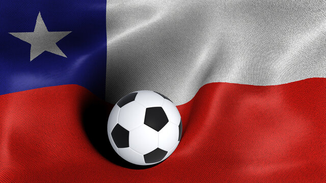 3D rendering of the flag of Chile with a soccer ball