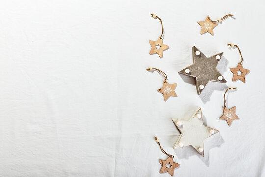 Christmas flatlay decor background on white textile background