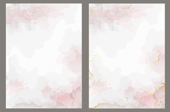 Pink vector watercolor style texture for your design, covers and wedding invitations. Golden marble and splash style. Editable transparent templates made with layers