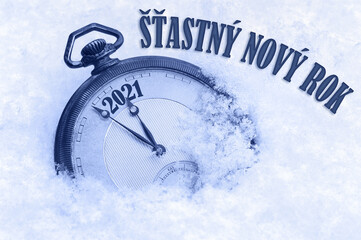 New year card 2021,Happy New Year 2021 greeting in Czech language, Stastny novy rok text, countdown to midnight