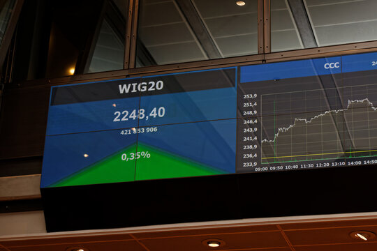 WARSAW/POLAND - March 27, 2018: WIG20 index value in trading room of Warsaw Stock Exchange (WSE, GPW)