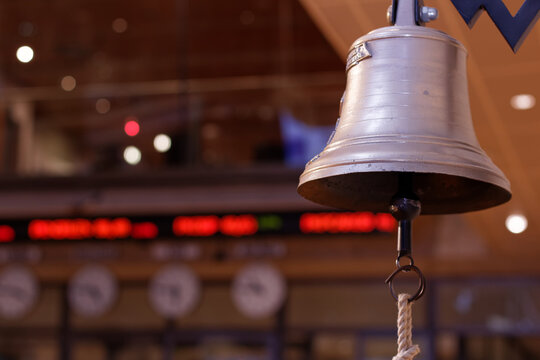 Bell in Warsaw Stock Exchange trading hall - Warsaw, Poland, March 27, 2018