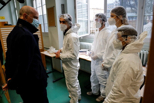 French Education, Youth and Sports Minister Jean-Michel Blanquer visits the Emile Dubois Lycee where antigen testing for the coronavirus disease (COVID-19) is taking place, in Paris