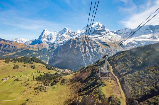 Mountains landscape with gondola from Murren to Schilthorn, Switzerland.