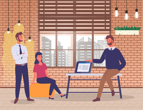 Man sits on table with laptop, girl sits on comfortable yellow pouf, bearded guy stands with his arms crossed. Brick conceptual walls, ceiling lights, panoramic windows, cityscape. presentation
