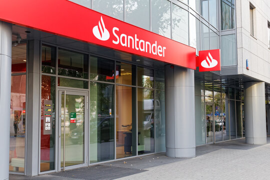 Santander Bank headquarters near the street - Warsaw, Poland, September 7, 2018