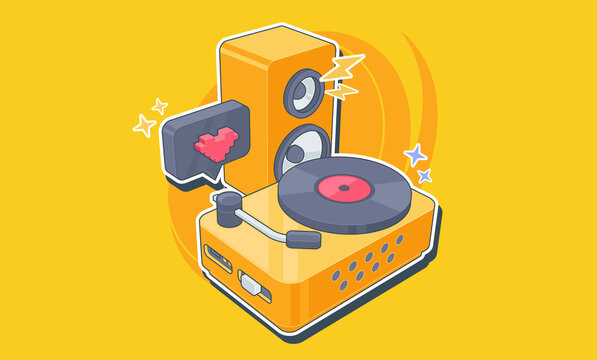 Vinyl player with a vinyl disk in the style of pop art. DJ deck. Vector illustration