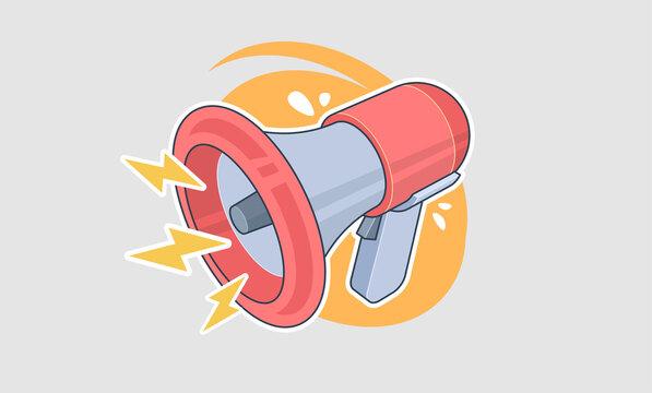 Retro megaphone in cartoon style, Flat design vector business illustration concept Digital marketing. Advertising through speakers.
