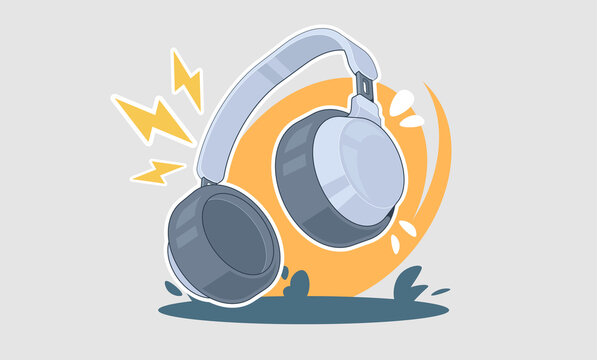 Headphones cartoon illustration. music concept vector design with headphone for print and web.