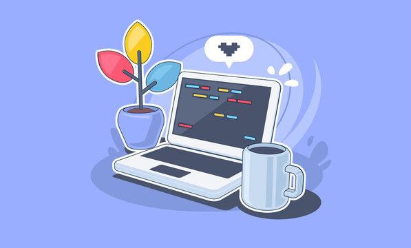 Work desk with laptop. Work from home. Freelance. Software development concept illustration.