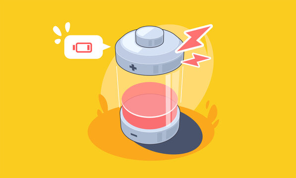 Abstract Battery Charging Icon. Low battery Vector flat illustration.
