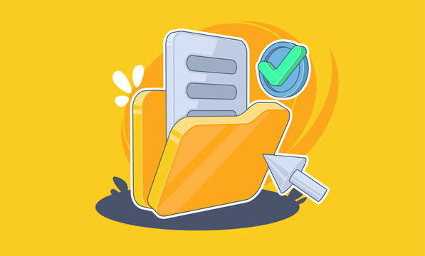 Folder with documents on yellow background, vector illustration in cartoon style.