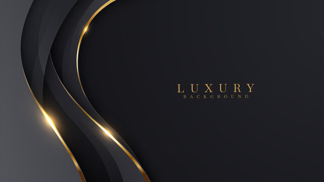 Luxury abstract background with golden lines on dark, modern black backdrop concept 3d style. Illustration from vector about modern template deluxe design.