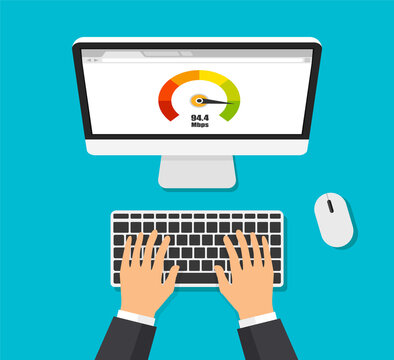 Credit score meter. Top view laptop with speed test on a screen. Businessman works at the computer. Isolated vector illustration.