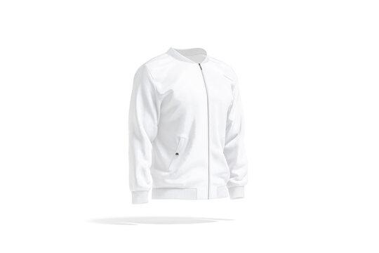 Blank white bomber jacket mockup, side view