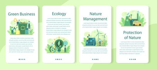 Fototapeta Ecology or eco friendly business mobile application banner set. obraz