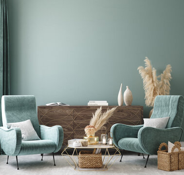 Home interior mock-up with turquoise armchairs, table and pampas, 3d render