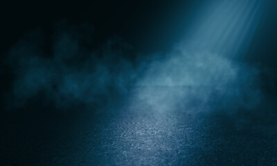 Dark abstract background toned in blue. Smoke, fog, smog, the reflection of a neon spotlight on the asphalt. Empty street background at night. 3d illustration Fotomurales