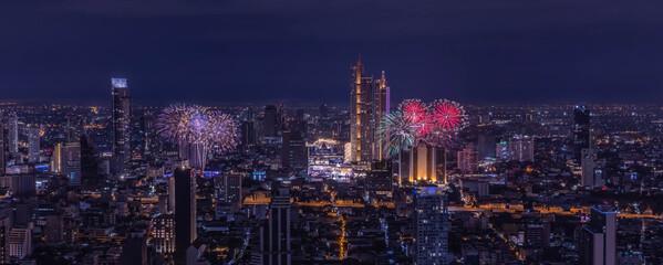 Panorama view of Beautiful fireworks over city of Bangkok, Thailand Fotomurales