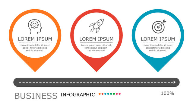 Map pin infographic Vector with 3 steps. presentation, connection, strategy, design, brainstorm, idea, education, marketing, creative, growth, column, workflow,