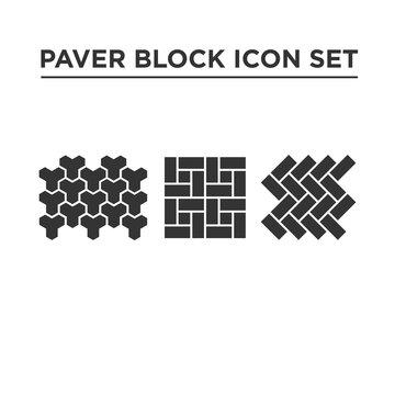 paving block, concrete pavers block icon set, paving logo