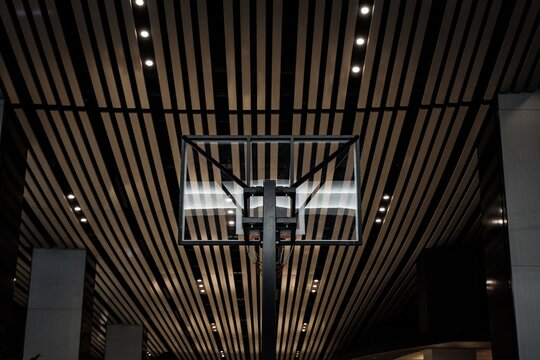 Low Angle View Of Basketball Hoop Against Illuminated Ceiling