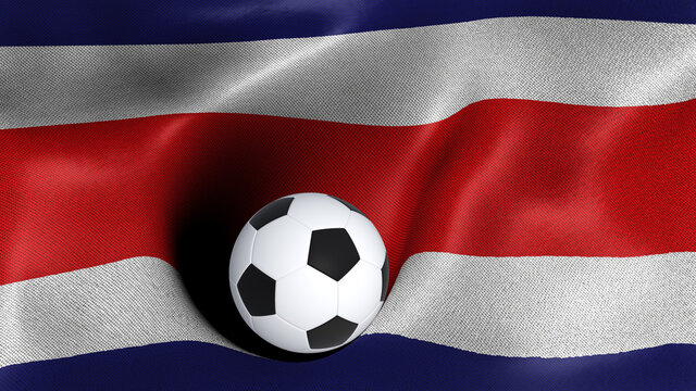 3D rendering of the flag of Costa Rica with a soccer ball