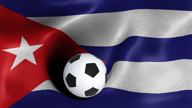 3D rendering of the flag of Cuba with a soccer ball