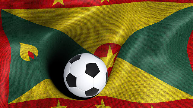 3D rendering of the flag of Grenada with a soccer ball