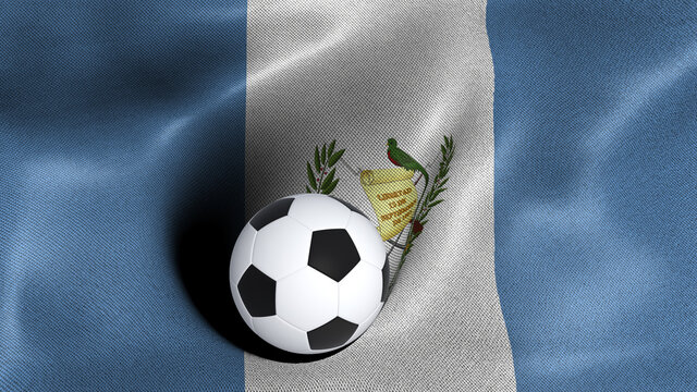 3D rendering of the flag of Guatemala with a soccer ball